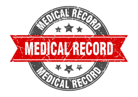 medical record round stamp with ribbon. sign. label