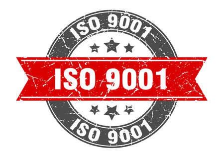 iso 9001 round stamp with ribbon. sign. label