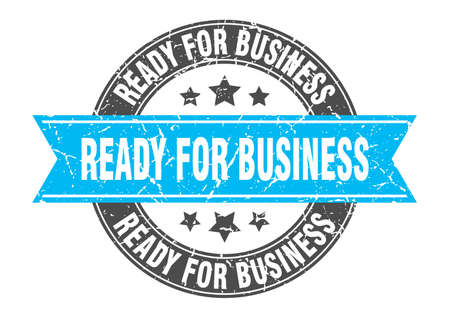 ready for business round stamp with ribbon. sign. label Иллюстрация