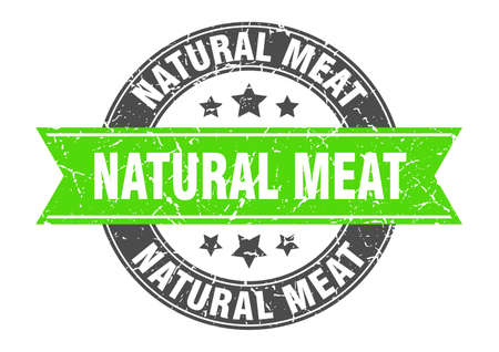natural meat round stamp with ribbon. sign. label Stock fotó - 155451250
