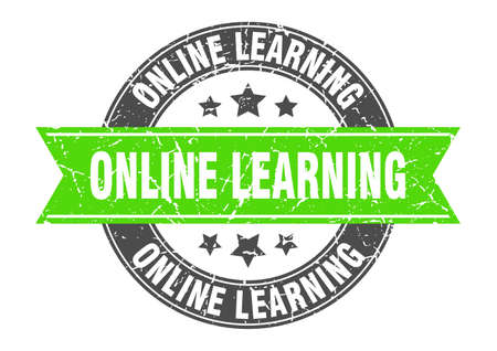 online learning round stamp with ribbon. sign. label