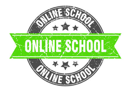online school round stamp with ribbon. sign. label