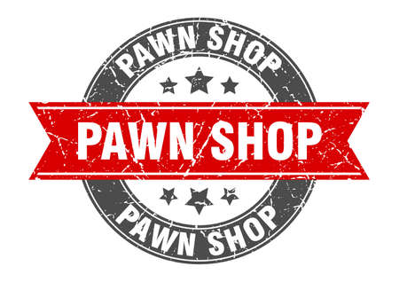 pawn shop round stamp with ribbon. sign. label