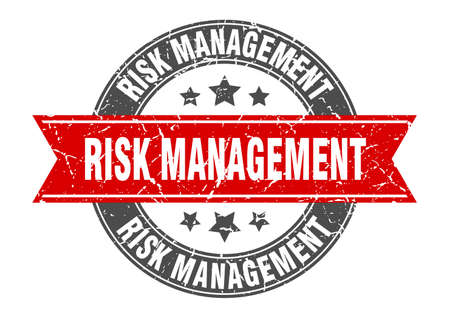 risk management round stamp with ribbon. sign. label