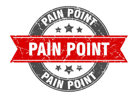 pain point round stamp with ribbon. sign. label