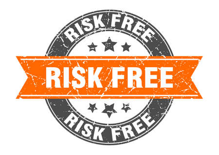 risk free round stamp with ribbon. sign. label