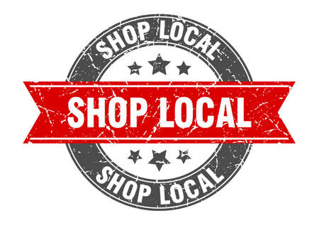 shop local round stamp with ribbon. sign. label