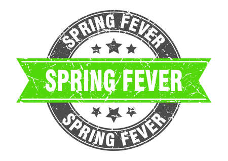 spring fever round stamp with ribbon. sign. label
