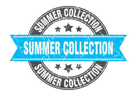 summer collection round stamp with ribbon. sign. label