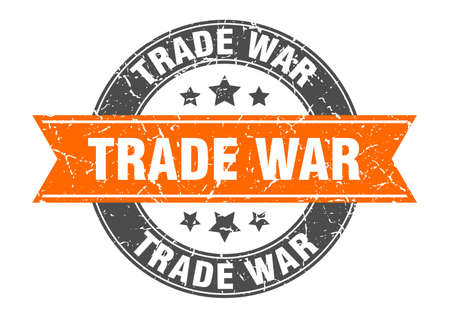 trade war round stamp with ribbon. sign. label Иллюстрация