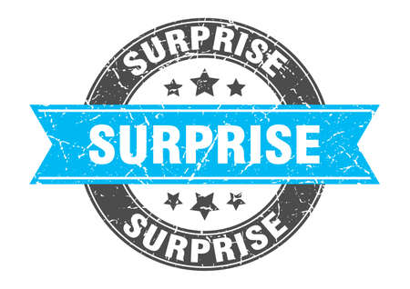 surprise round stamp with ribbon. sign. label