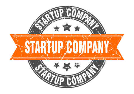 startup company round stamp with ribbon. sign. label