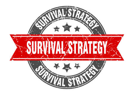 survival strategy round stamp with ribbon. sign. label