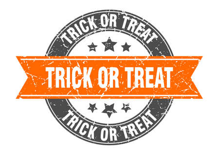 trick or treat round stamp with ribbon. sign. label