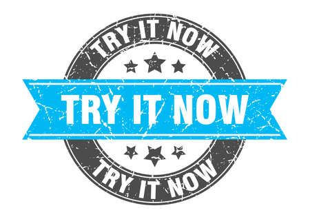 try it now round stamp with ribbon. sign. label Иллюстрация