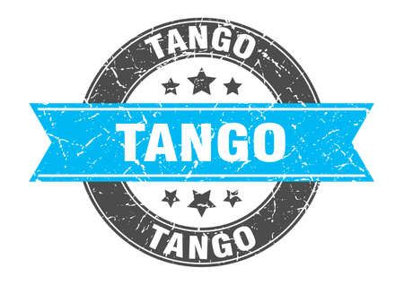 tango round stamp with ribbon. sign. label