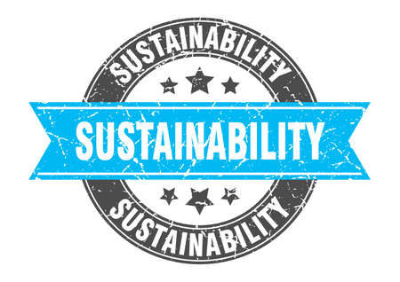 sustainability round stamp with ribbon. sign. label