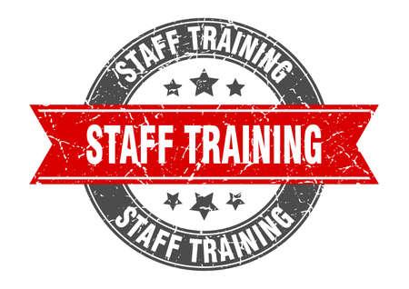 staff training round stamp with ribbon. sign. label Иллюстрация