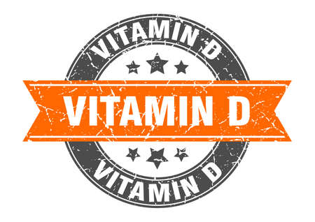 vitamin d round stamp with ribbon. sign. label