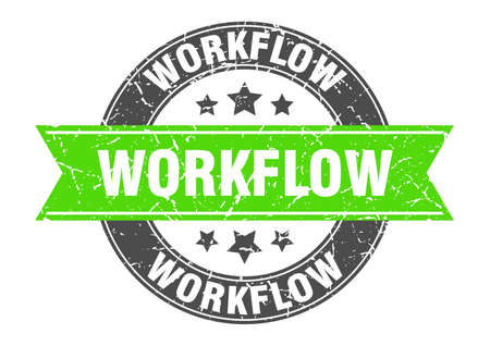 workflow round stamp with ribbon. sign. label Иллюстрация