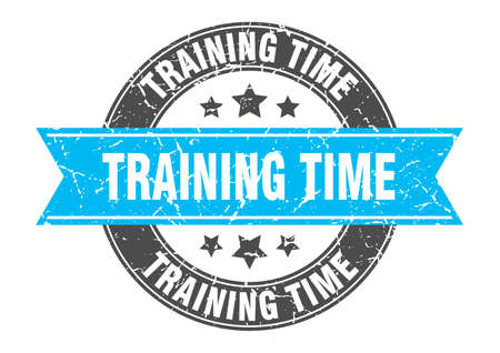 training time round stamp with ribbon. sign. label