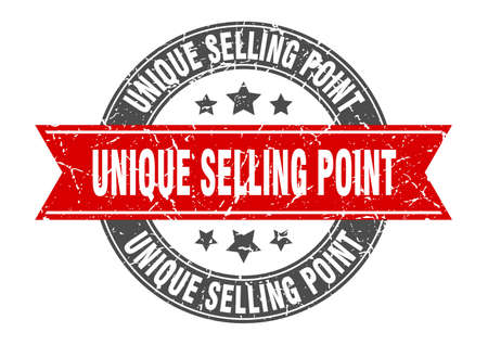 unique selling point round stamp with ribbon. sign. label