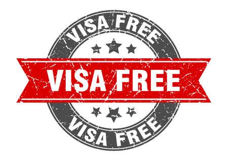 visa free round stamp with ribbon. sign. label Иллюстрация