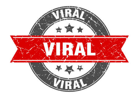viral round stamp with ribbon. sign. label