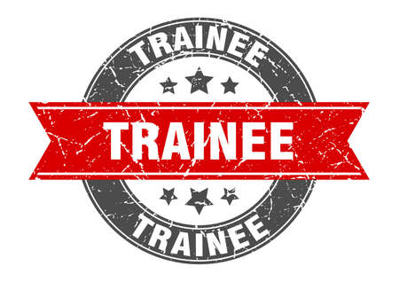 trainee round stamp with ribbon. sign. label