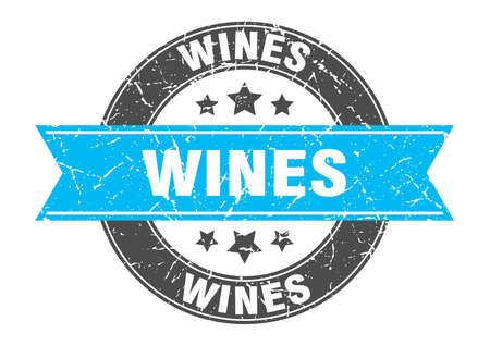 wines round stamp with ribbon. sign. label