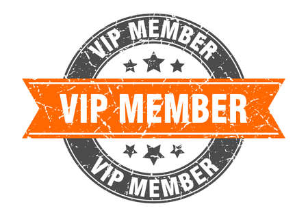 vip member round stamp with ribbon. sign. label Иллюстрация