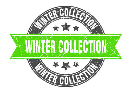 winter collection round stamp with ribbon. sign. label Иллюстрация