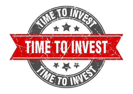 time to invest round stamp with ribbon. sign. label Иллюстрация