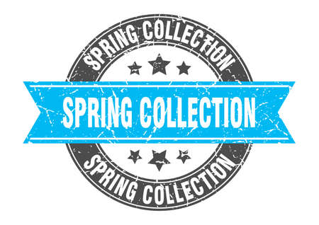 spring collection round stamp with ribbon. sign. label