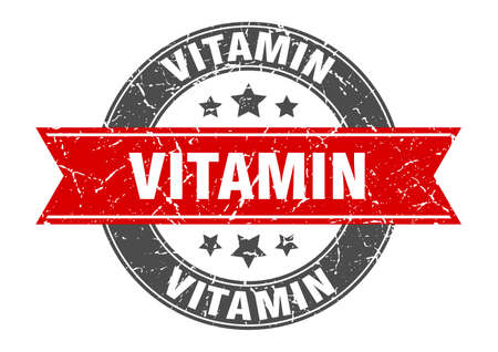 vitamin round stamp with ribbon. sign. label Иллюстрация
