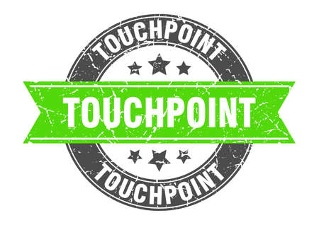 touchpoint round stamp with ribbon. sign. label