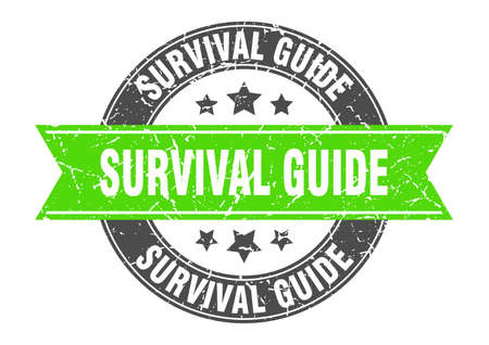 survival guide round stamp with ribbon. sign. label