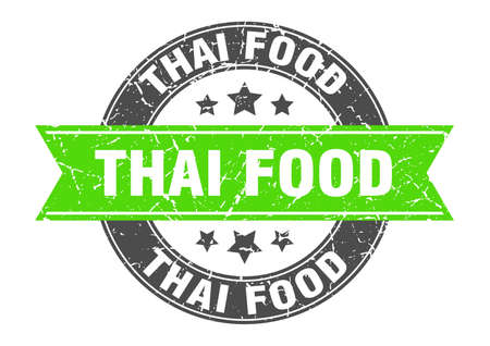 thai food round stamp with ribbon. sign. label Иллюстрация