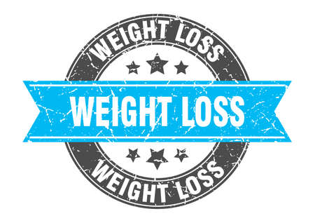 weight loss round stamp with ribbon. sign. label
