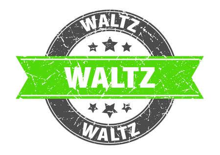 waltz round stamp with ribbon. sign. label Иллюстрация
