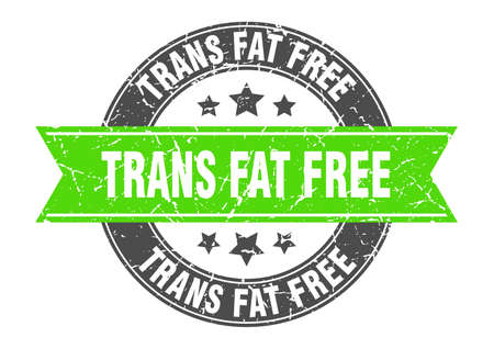 trans fat free round stamp with ribbon. sign. label