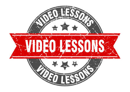 video lessons round stamp with ribbon. sign. label