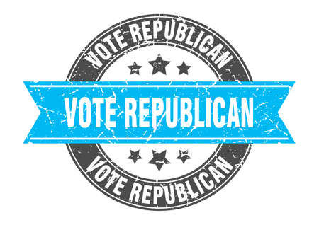 vote republican round stamp with ribbon. sign. label