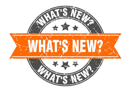what's new? round stamp with ribbon. sign. label