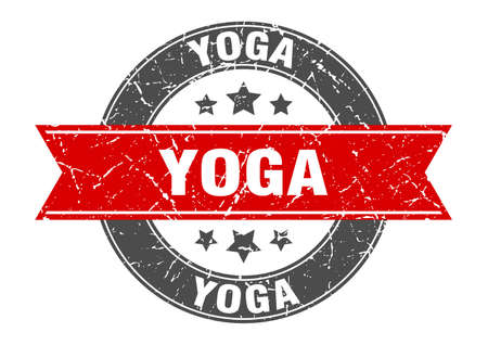 yoga round stamp with ribbon. sign. label Иллюстрация