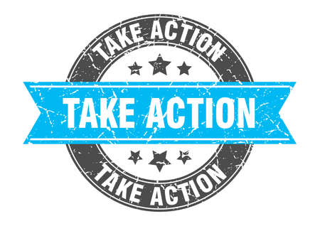 take action round stamp with ribbon. sign. label Иллюстрация