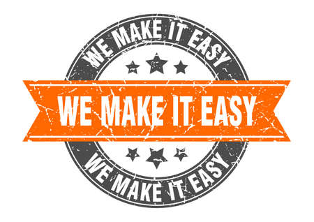 we make it easy round stamp with ribbon. sign. label