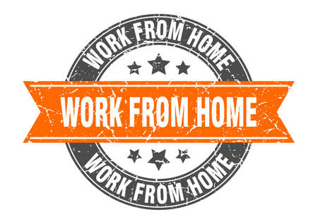 work from home round stamp with ribbon. sign. label