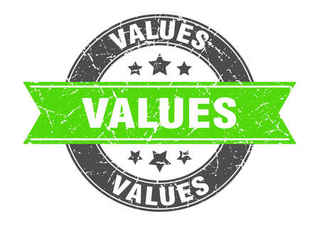 values round stamp with ribbon. sign. label