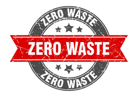 zero waste round stamp with ribbon. sign. label